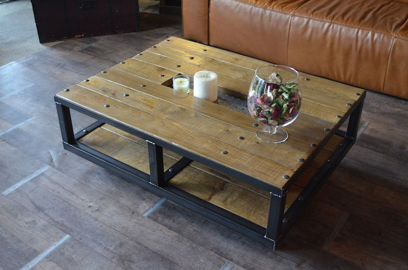 Table basse style industriel  roulettes- Fabrication ...