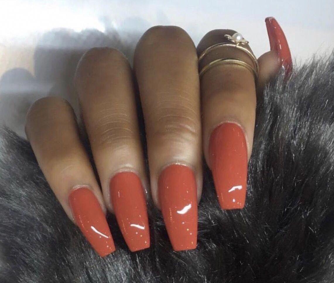The Perfect Fall Color Nails Acrylic Fallnails Coffinshape Acrylicnaildesigns Fall Acrylic Nails Gorgeous Nails Orange Nails