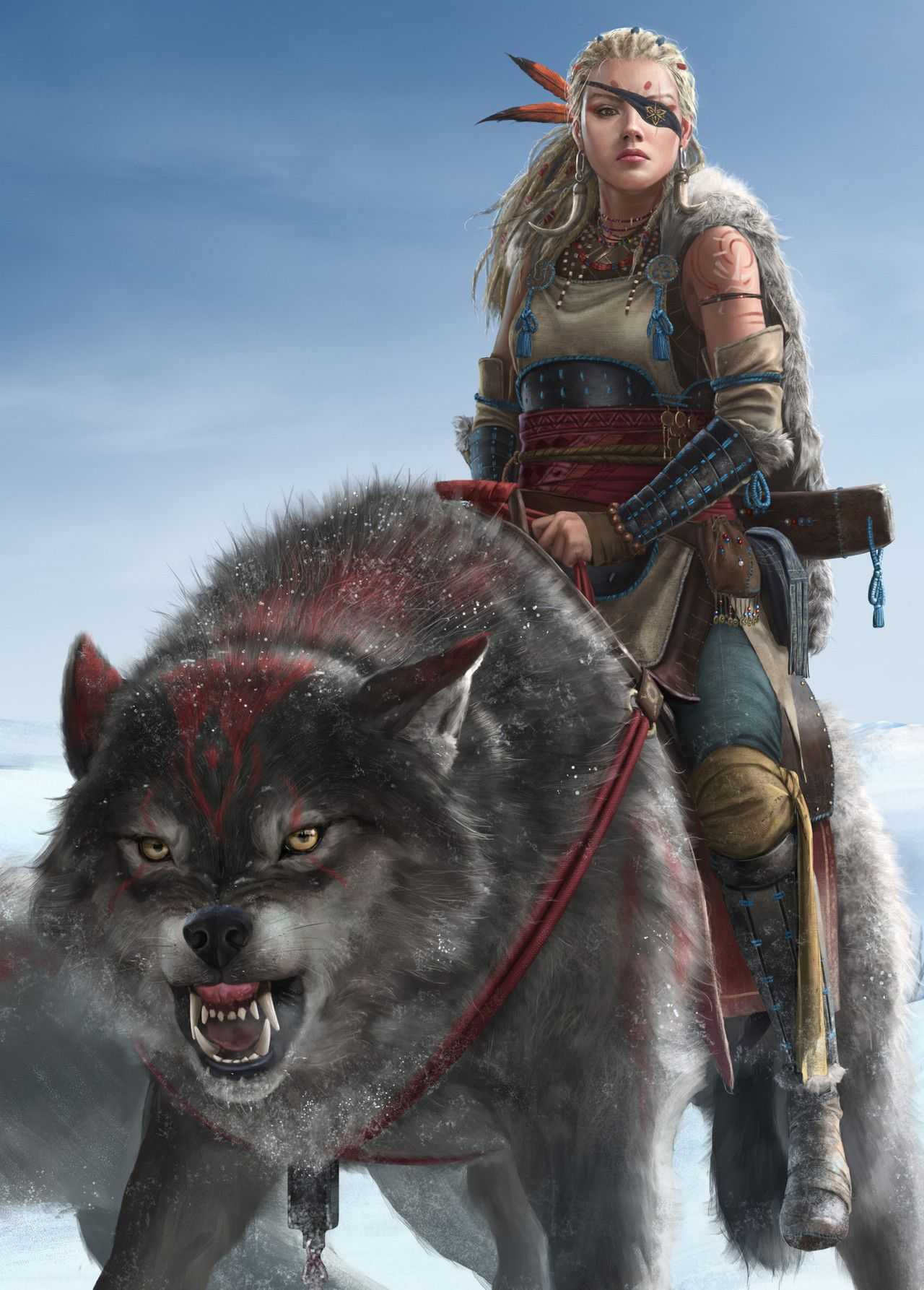 Female Human Light Armor Dire Wolf Rider Eye Patch