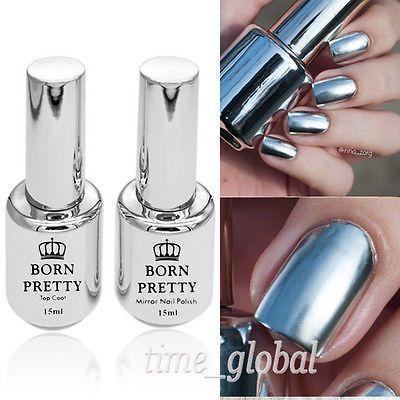 2pcs 15ml Metálico efecto de espejo Esmalte De Uñas Metal Plata