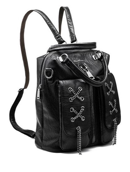 89b48ecb05c2 Zippers Chains Backpack (Black)