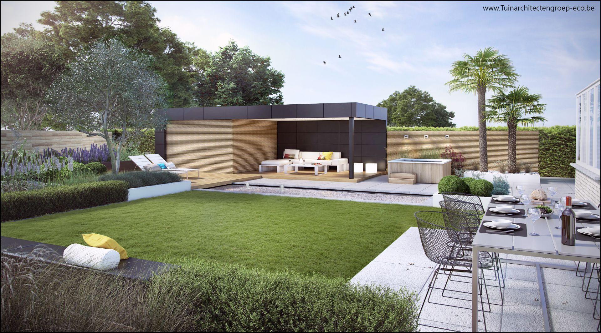 Eco tuinarchitectengroep 3d projecten loungetuin met vijver