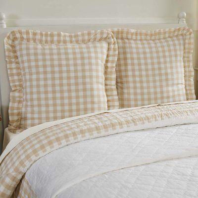 August Grove Caulder Buffalo 100 Cotton Plaid Sham Pillow Euro Shams Pillows Buffalo Check Fabric
