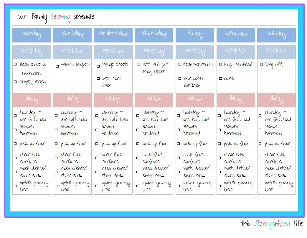 Update New And Improved Daily Cleaning Schedule  Cleaning