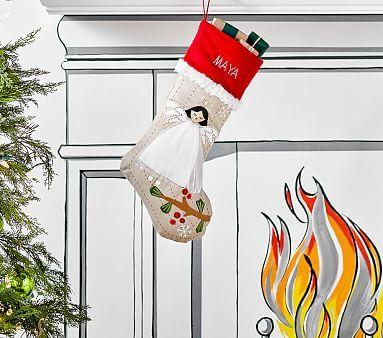 Brunette Angel Woodland Stocking Christmas Stockings