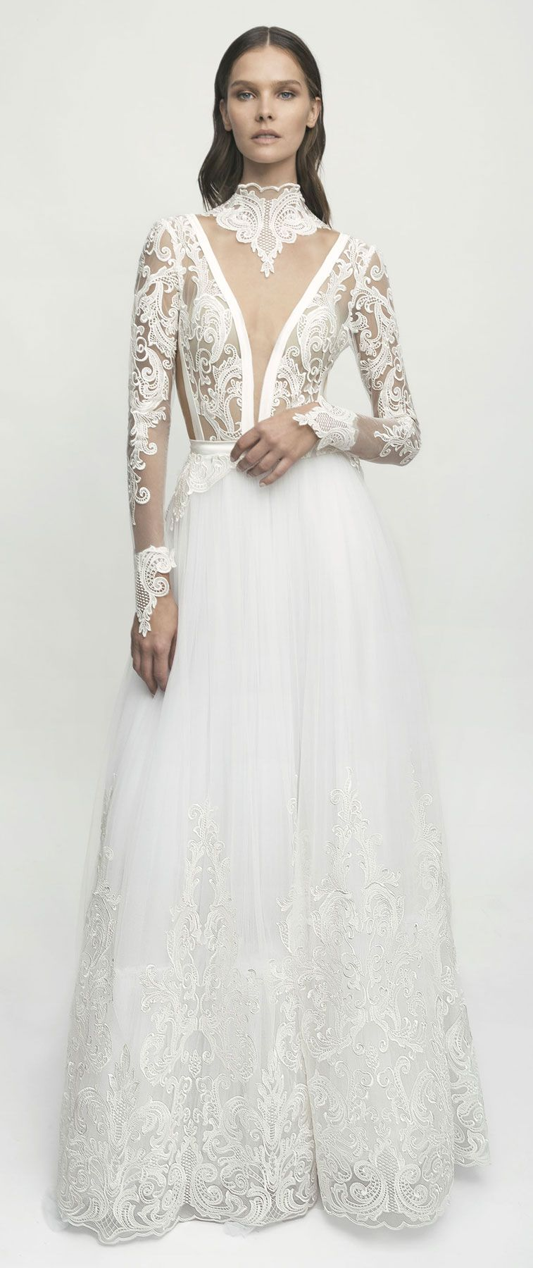Bridal long sleeves high neck deep plunging neck line wedding dress #weddingdress #wedding #weddinggown #bridedress