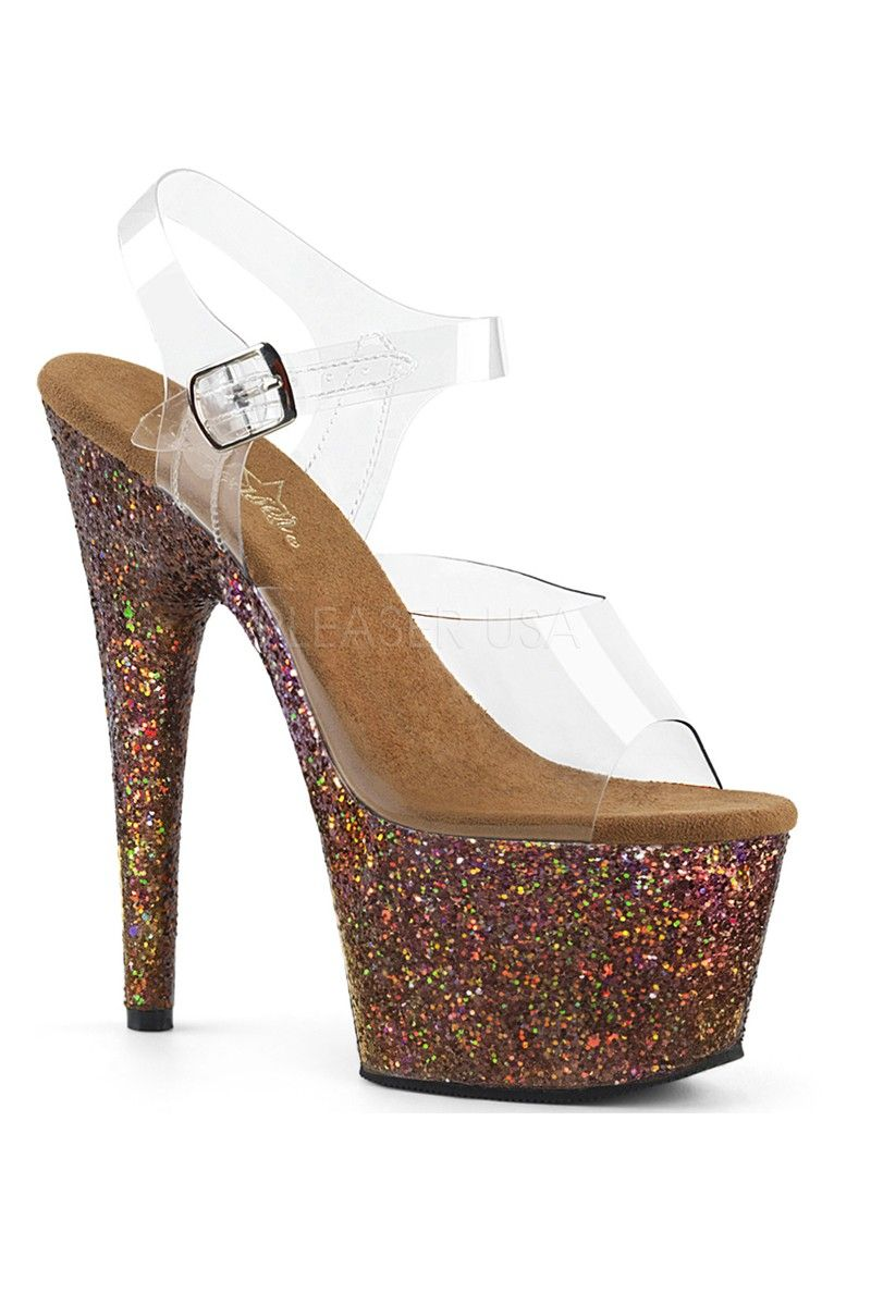 42a7b53e2ab5 Buy Sexy Copper Clear Glitter Platform High Heels with cheap price and high  quality Heel Shoes