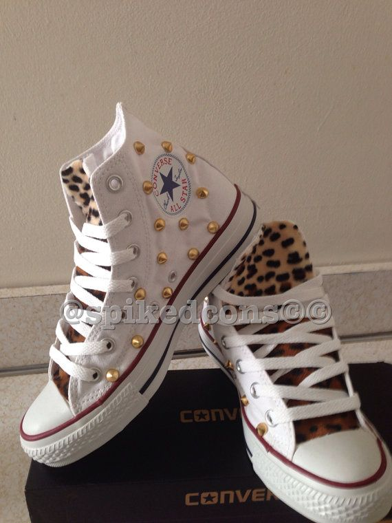 e0137855c1c16 High top adult converse with leopard tongue & studs by SpikedCons ...