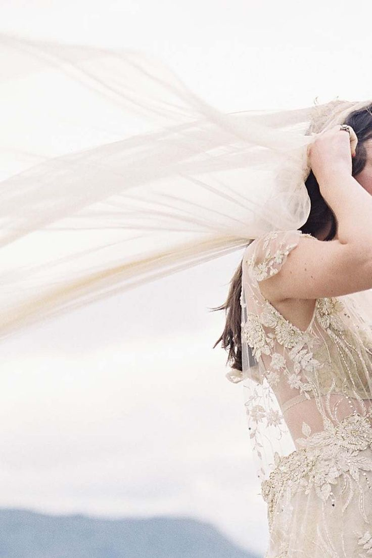 Magnolia silk tulle and french lace juliet cap veil in