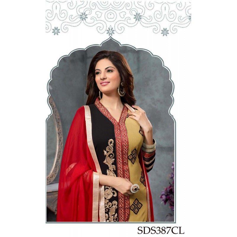 Designer Multi Color Pure Atlanta Georgette  Party Wear A-line  Salwaar Suit-SDS387CL(ARTI -Pooja)Karishma