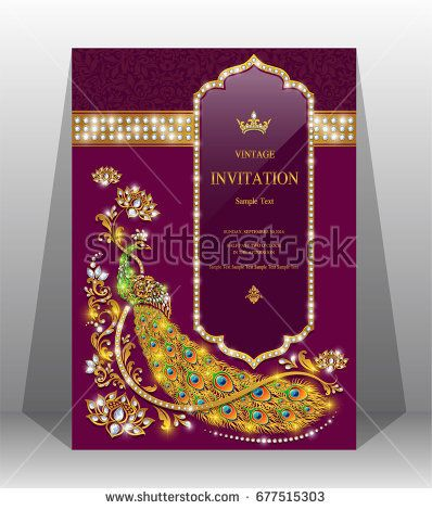 Luxury wedding invitation card with gold peacock patterned and gem luxury wedding invitation card with gold peacock patterned and gem diamond jewelry have glitter on paper stopboris Choice Image
