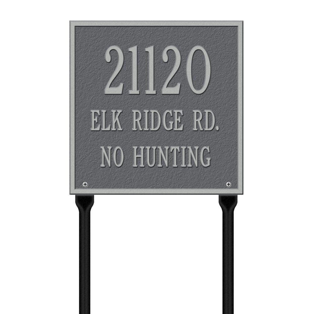 Whitehall Products Square Standard Lawn 3 Line Address Plaque Pewter Silver Address Plaque Whitehall Products Personalized Plaques
