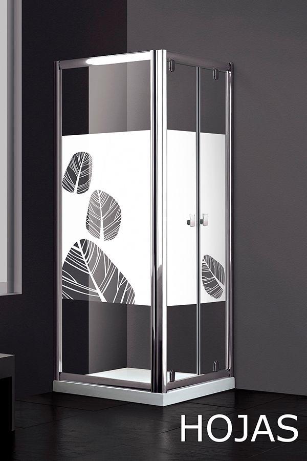 Mampara de ducha slim lateral fijo con decorado en - Vinilos para duchas ...