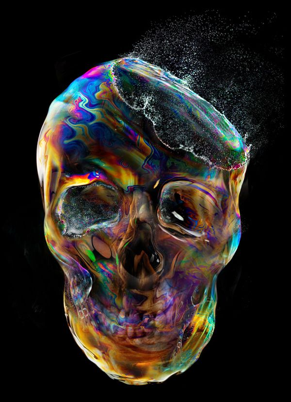 """""""Bubble Skull"""" for t-shirt design by Eddie Yau 