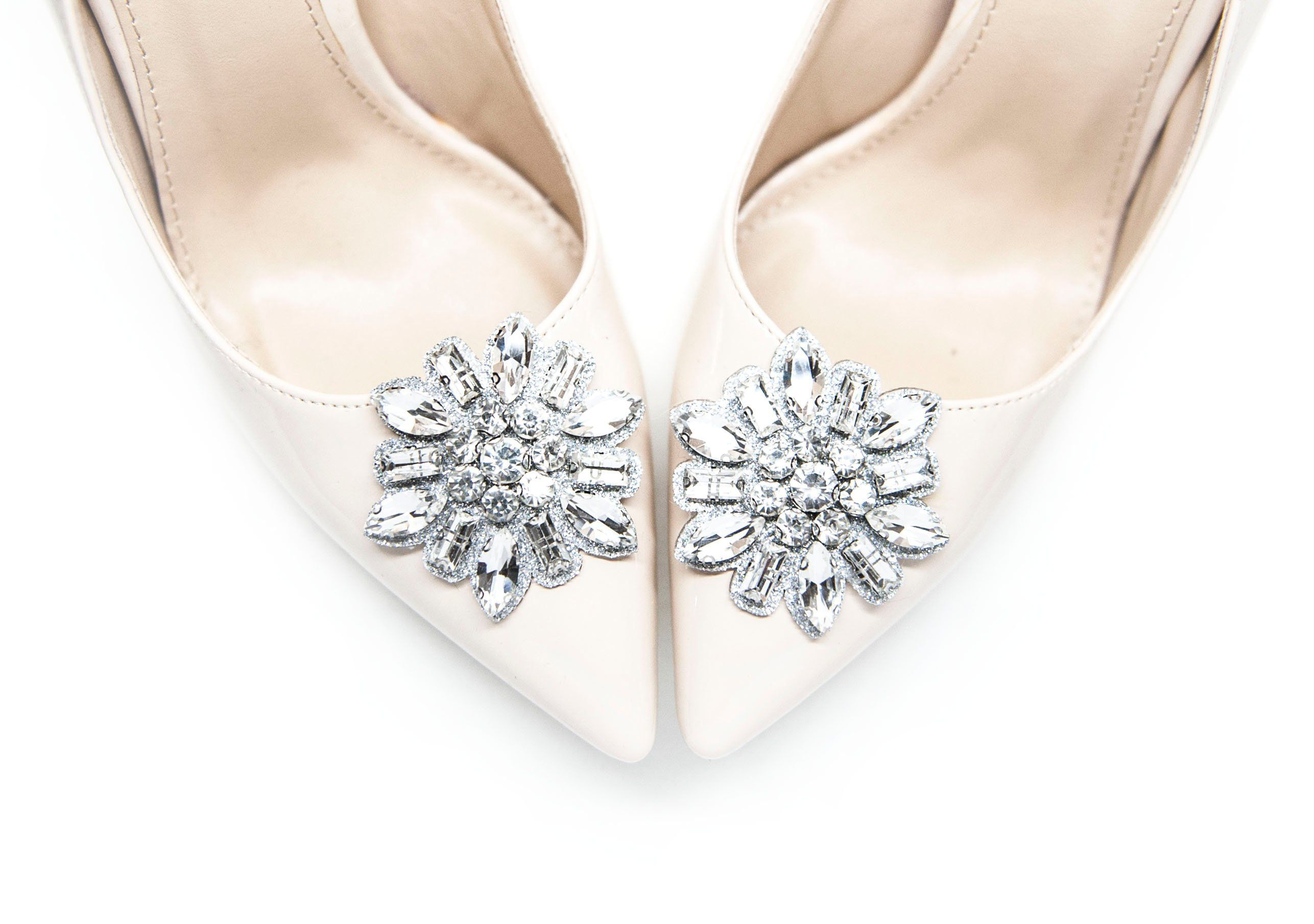 8bdd20c8e Decorations of silver rhinestones shoe clips. The decorations look really  special. Perfect addition to bridal styling or a big …