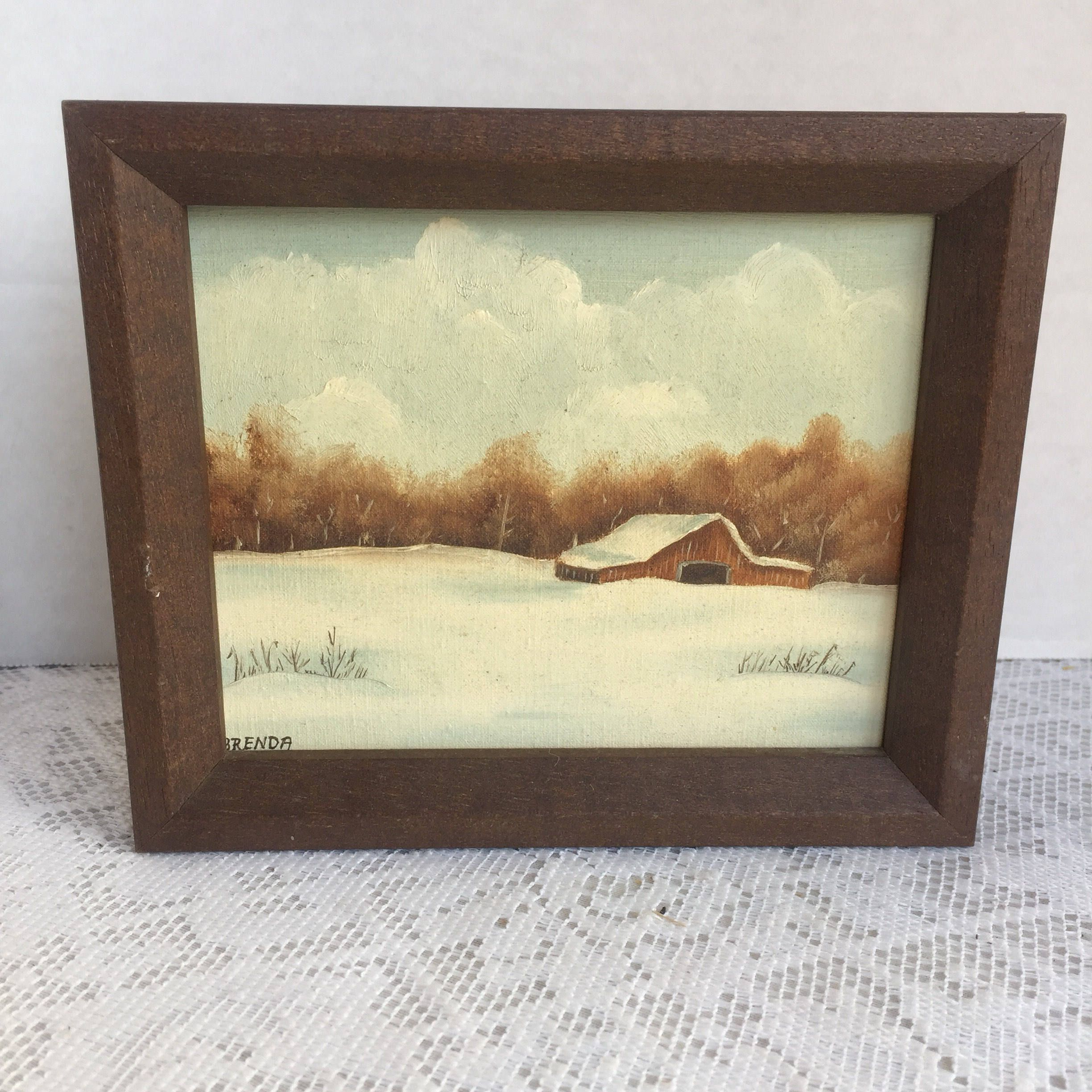 Vintage Wooden Frame with Art / 4 X 5 Wood Frame with Snowy Scene ...