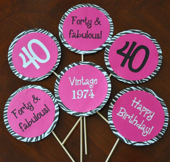 Girly 40th Birthday Party Decorations hot pink and zebra print Set