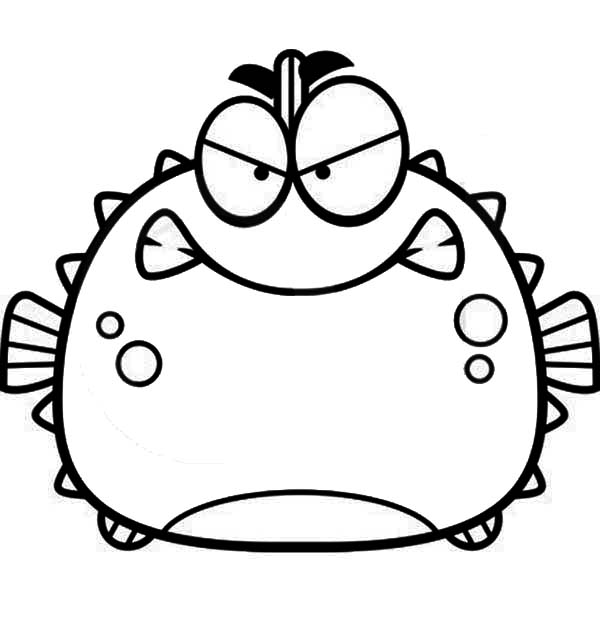 Angry Blowfish Puffer Fish Coloring Page Kids Play Color Fish Coloring Page Coloring Pages Blowfish