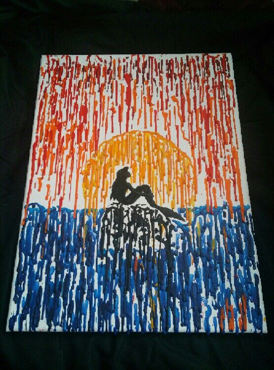 Little mermaid melted crayon. meltedheartcrayoncreation.weebly.com Facebook: melted heart crayon creations $25
