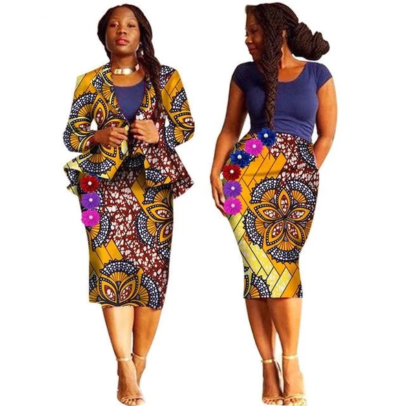 Bazin Riche African cotton printed suit made to your specification