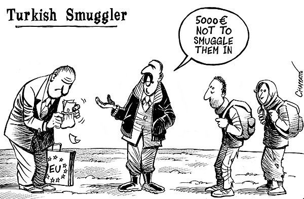 Chappatte  (2016-03-09)  Turkey, the EU and the migrants - © Chappatte in Le Temps, Switzerland