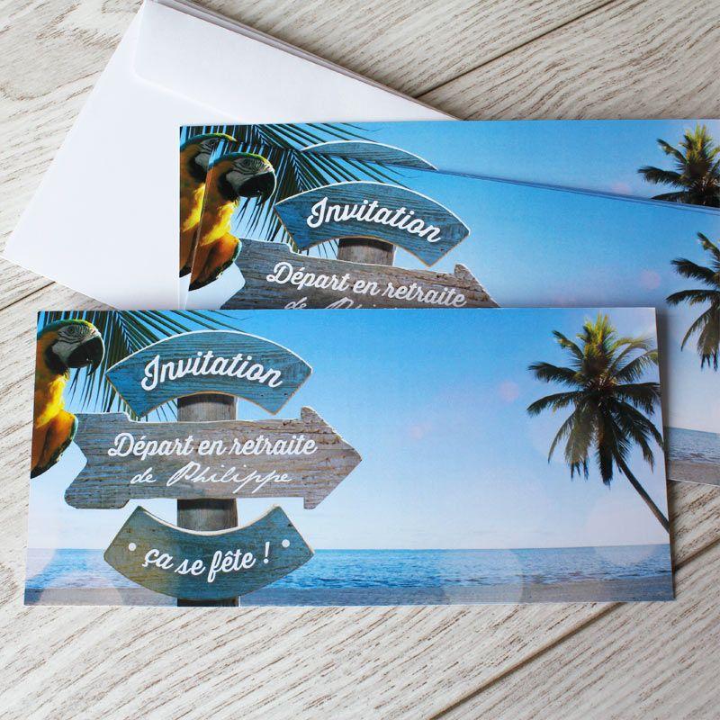 carte invitation d part la retraite sur un air de vacances pour f ter votre nouvelle vie ref. Black Bedroom Furniture Sets. Home Design Ideas