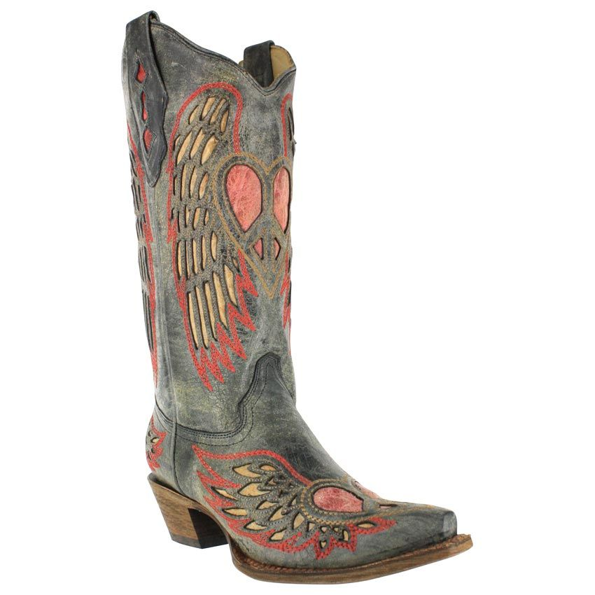 Women's Black/Antique Saddle Wing and Heart Inlay Snip Toe Cowgirl Boots A1975