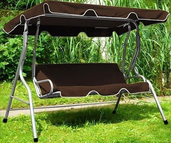 Garden Swing Seat Patio Furniture Metal Chair Canopy Hammock Brown