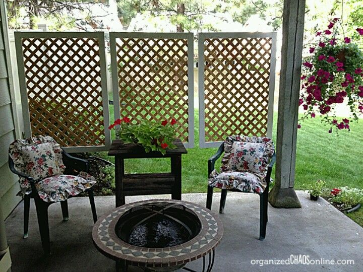 Lattice Panels Hung By Chains Easy Patio Diy Privacy Screen Backyard Privacy