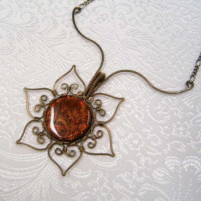 WillowWalker Designs: Autumn Sunflower Dichroic Art Glass Wire ...