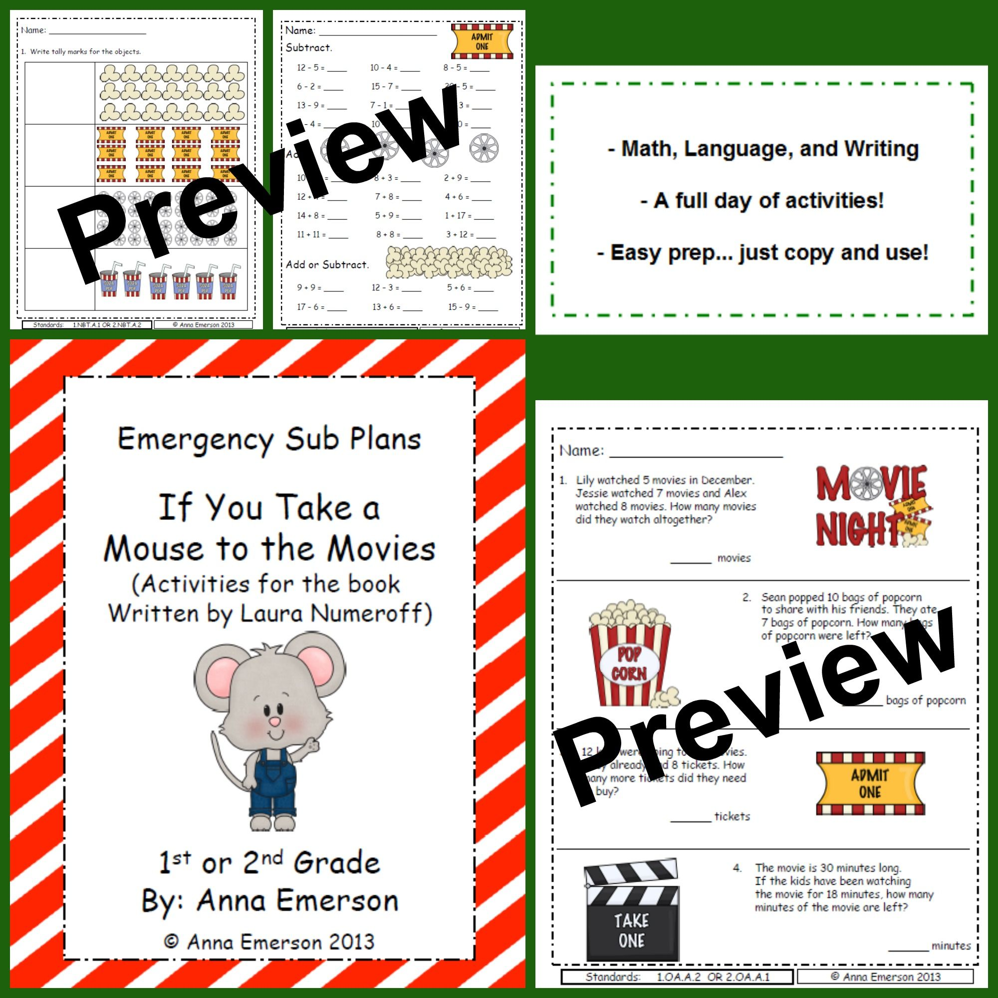 Worksheets If You Take A Mouse To School Worksheets emergency sub plans if you take a mouse to the movies for first or by laura numeroff