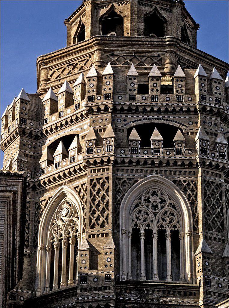Catedrál del Salvador (commonly called La Seo) in Zaragoza, Spain, built over...