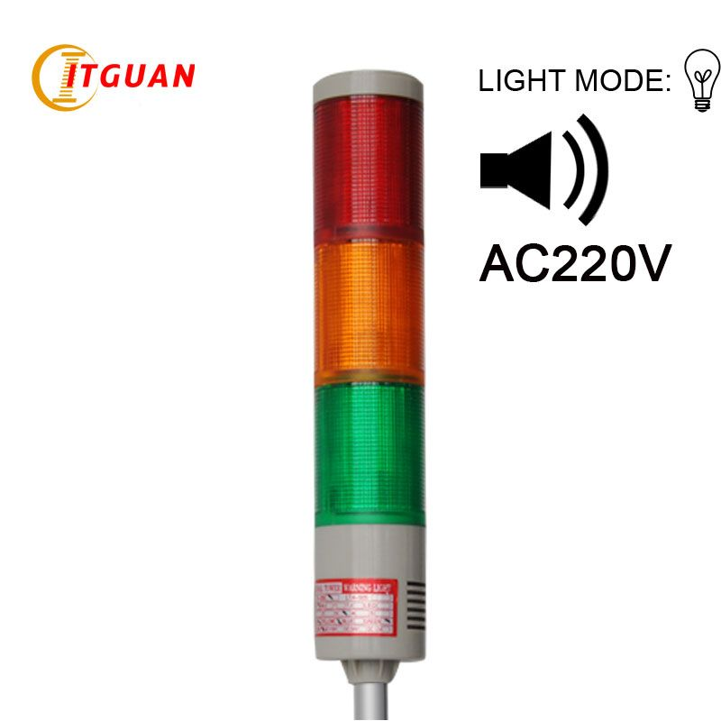 Lta 205j 3 Ac220v 3 Layer Industrial Machine Tower Light Signals With Buzzer 90db Led Warning Lights Tower Light Warning Lights