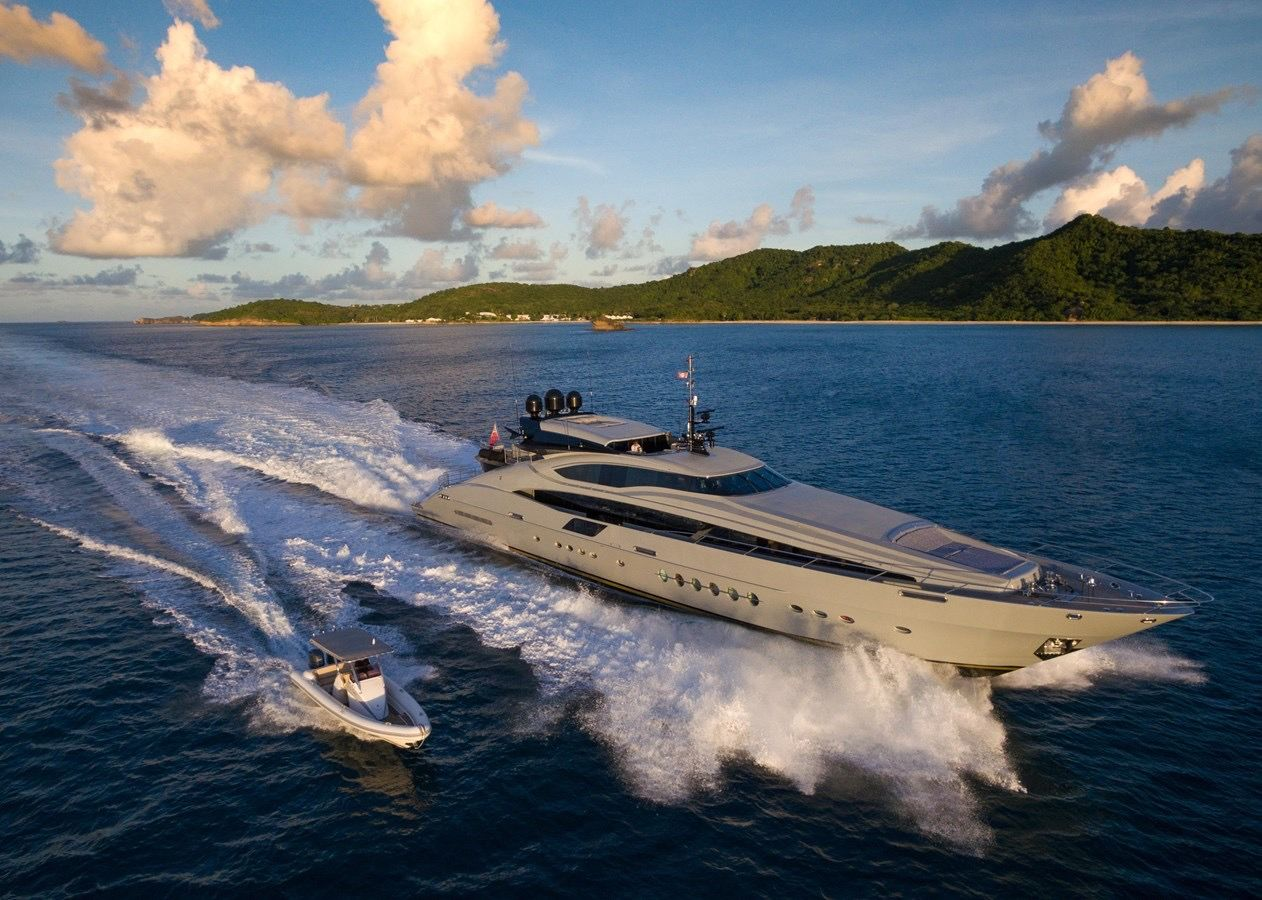 Luxury super yacht travel through the islands in the