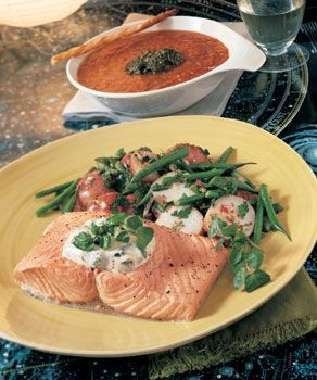 Poached Salmon Fillets with Watercress Mayonnaise Recipe - salmon meets its match with dry white wine and Dijon mustard