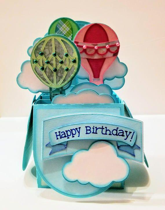 Hot Air Balloon Box Card | Balloon box, Balloons, Cards