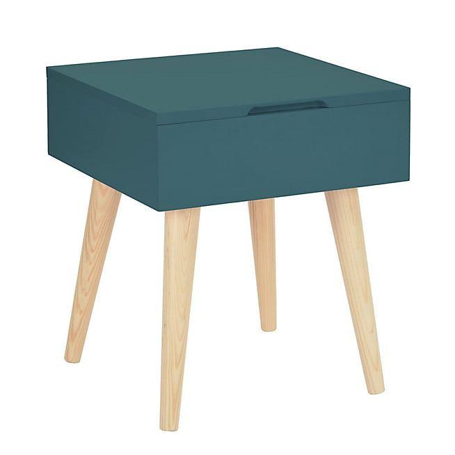 Rexxar Bout de canapé carré vert avec coffre de rangement Maison - maison avec tour carree