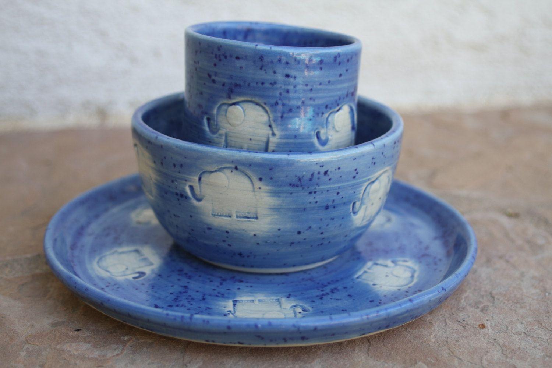 Elephant Children S Dinnerware Set Blue Ceramic Kids Dinnerware Breakfast Set For Kids Bowl Kids Plate Kids Cup Gi Kids Dinnerware Ceramic Gifts Dinnerware Set