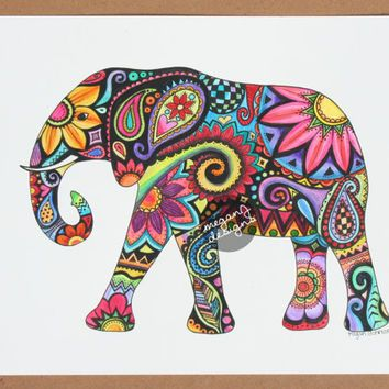 Original Watercolor Ink Elephant Painting Art 9x12 Elephant