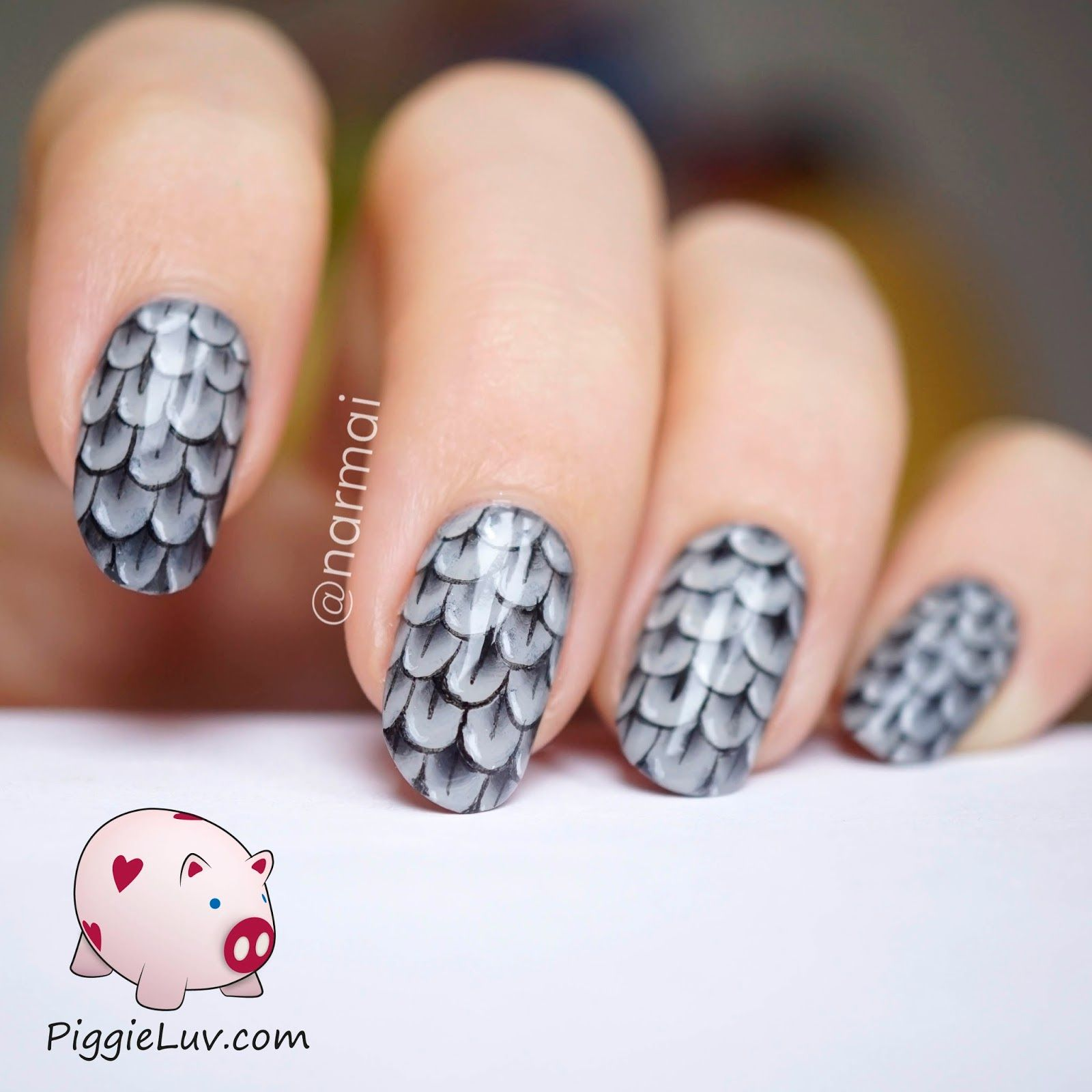One Stroke Feather Nail Art