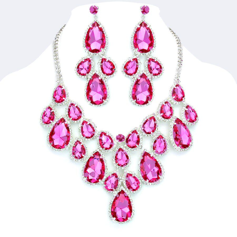Hot Pink Fuchsia Crystal Rhinestone Formal Wedding Bridal Prom Party Pageant Bridesmaid Evening Teardrop Cluster Necklace
