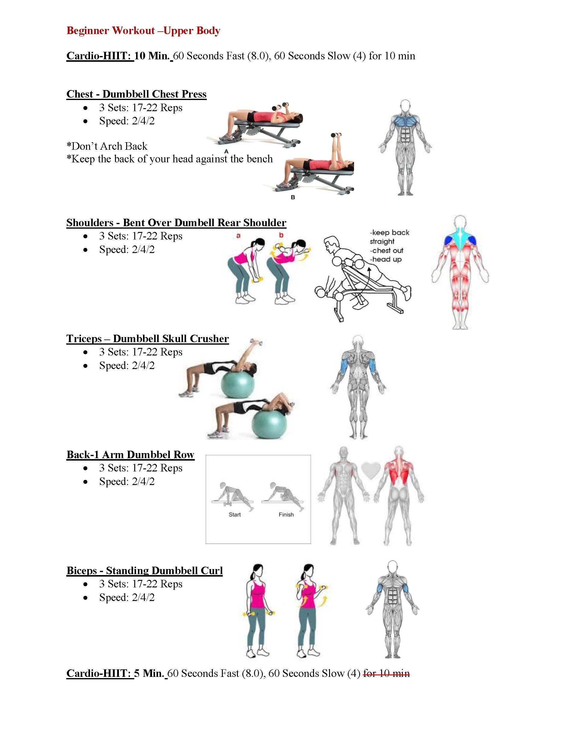 Pin By Vanessa Hansen On Fitness Beginner Upper Body Workout Upper Body Workout Routine Upper Body Workout