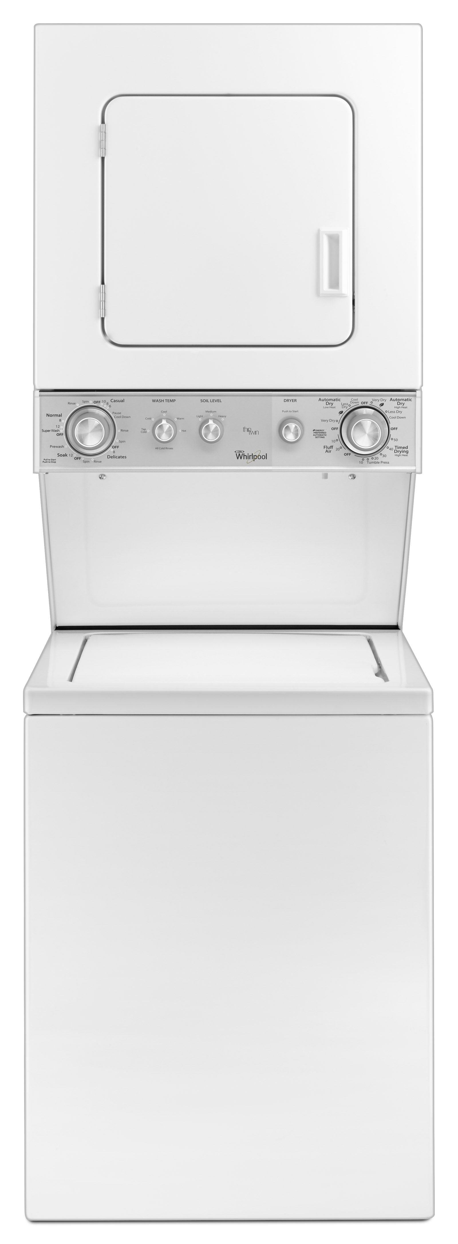 whirlpoola full size stackable electric laundry unit wet4024ew