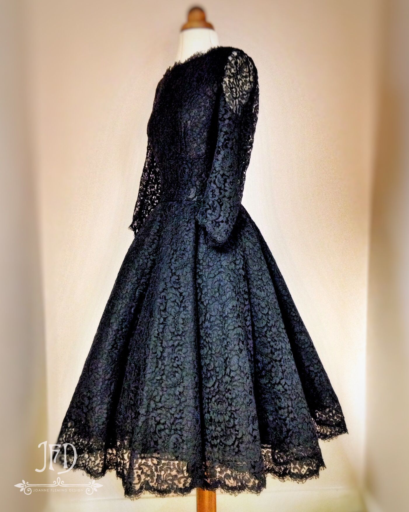 Black corded french lace and silk organza tealength dress by joanne