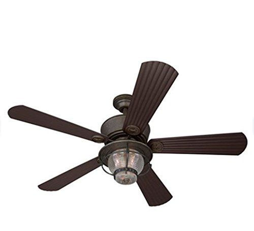 52 In Bronze Downrod Or Flush Mount Ceiling Fan With Light