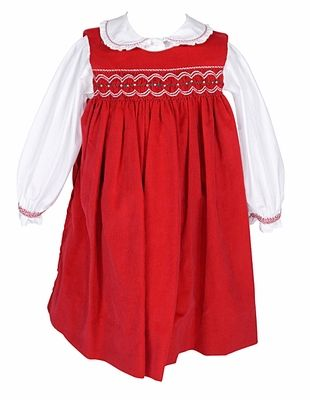 eae83f2f574 Petit Ami Infant Girls Red Corduroy Smocked Jumper Dress with Blouse ...