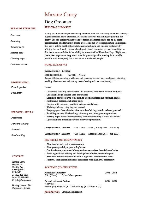 dog groomer resume  pets  salon  job description  example  sample  template  career history