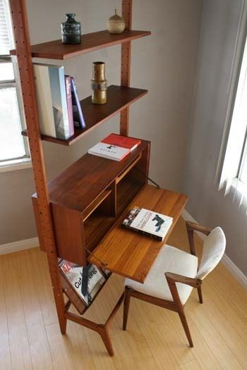 Mid Century Danish Modern Teak Wall Unit Desk Bookcase Cado Style