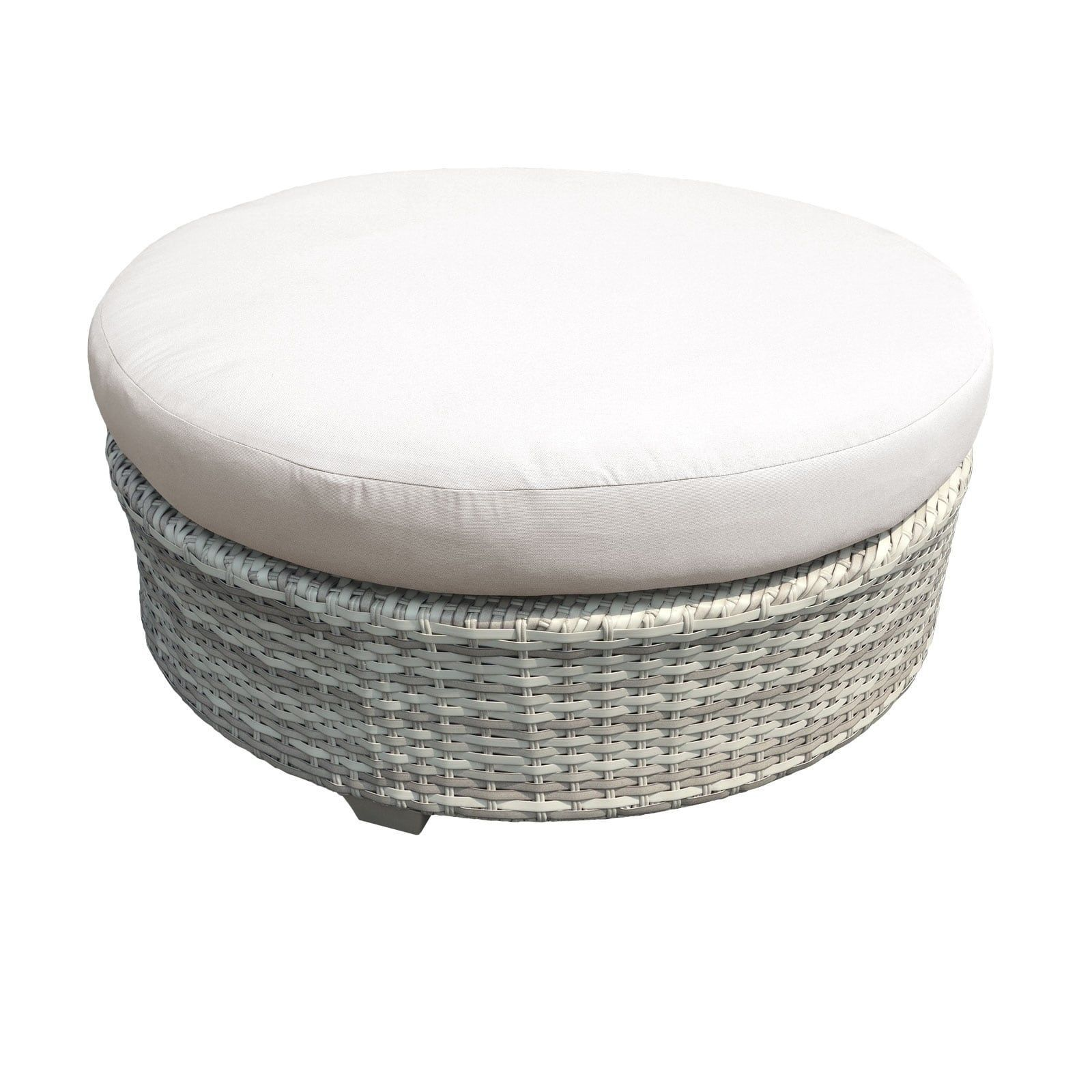 Catamaran Outdoor Patio Round Wicker Coffee Table with Cushion