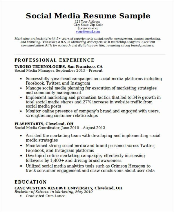Social Media Resume Examples Luxury 7 Social Media Resume